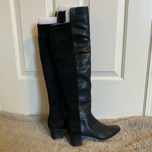 Two-tone over-the-knee Black Boots